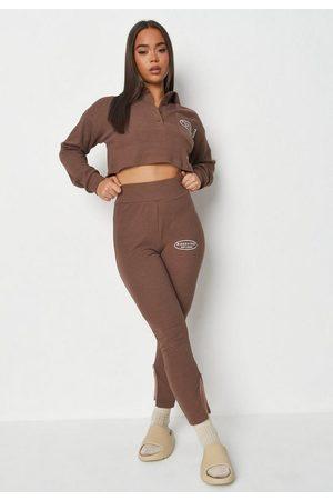 Missguided Chocolate Rib Side Split Leggings