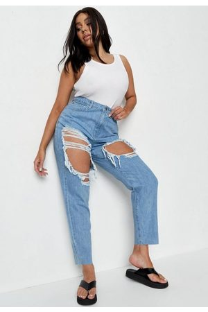 Missguided Plus Size Stone Extreme Distressed Mom Jeans