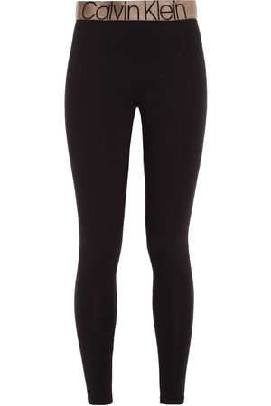 Calvin Klein Woman Monogram-trimmed Stretch-cotton Jersey Pajama Pants Size L