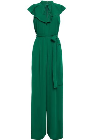 MIKAEL AGHAL Woman Ruffled Belted Crepe Jumpsuit Size 10