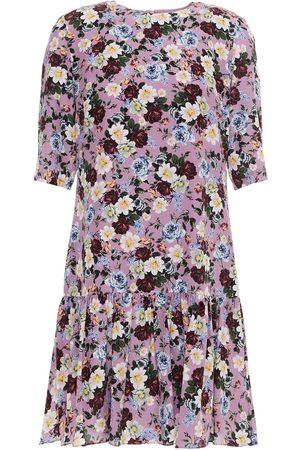 Erdem Woman Emmie Floral-print Gathered Silk Crepe De Chine Mini Dress Lilac Size 8