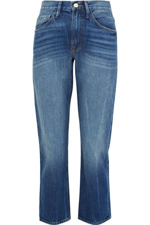 Frame Woman Le Piper Cropped Distressed High-rise Straight-leg Jeans Mid Denim Size 24