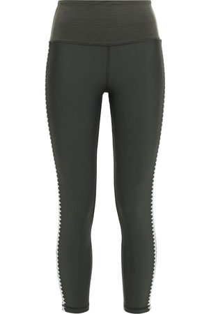 The Upside Woman Embroidered Stretch-leggings Army Size S