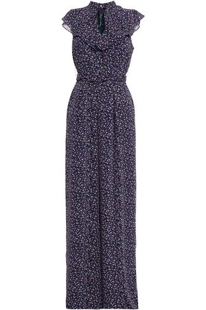MIKAEL AGHAL Woman Belted Ruffled Floral-print Crepe Wide-leg Jumpsuit Size 4