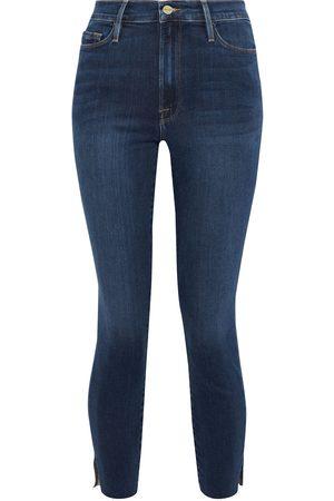 Frame Woman Ali Cropped High-rise Skinny Jeans Dark Denim Size 23