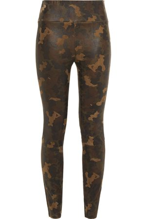 SPRWMN Woman Printed Stretch-leather Leggings Army Size L