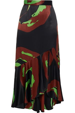 Rodebjer Woman Vianca Fluted Printed Satin Midi Skirt Size S