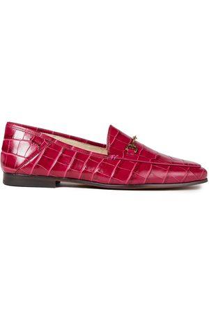 Sam Edelman Woman Embellished Croc-effect Leather Loafers Fuchsia Size 10