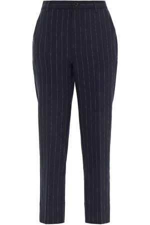 Ganni Woman Cropped Pinstriped Woven Tapered Pants Midnight Size 34