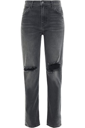 Current/Elliott Woman The Stovepipe Distressed High-rise Slim-leg Jeans Dark Gray Size 27