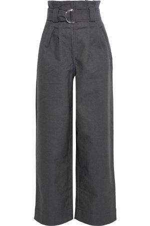 Ganni Woman Belted Pleated Cotton-blend Twill Straight-leg Pants Size 36