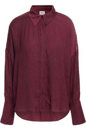 Charli Woman Irene Satin-jacquard Shirt Merlot Size 10