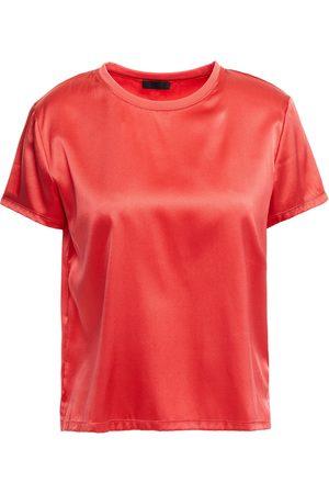 ATM Anthony Thomas Melillo Woman Stretch-silk Satin T-shirt Coral Size L