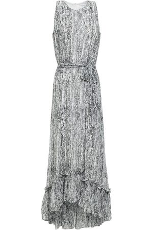 MIKAEL AGHAL Woman Belted Ruffled Snake-print Georgette Midi Dress Animal Print Size 4