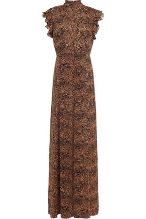 MIKAEL AGHAL Woman Ruffle-trimmed Leopard-print Crepon Maxi Dress Animal Print Size 4