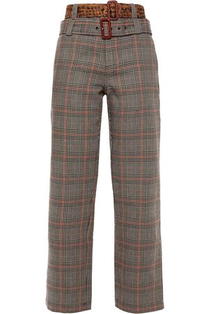 R13 Woman Belted Prince Of Wales Checked Cotton Straight-leg Pants Size 25