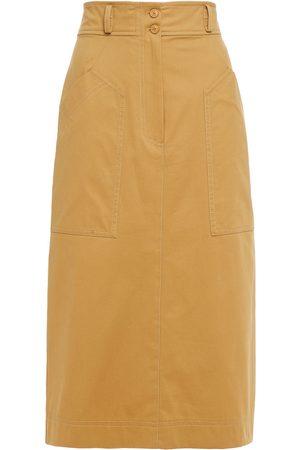 Alberta Ferretti Woman Cotton-blend Twill Pencil Skirt Sand Size 40