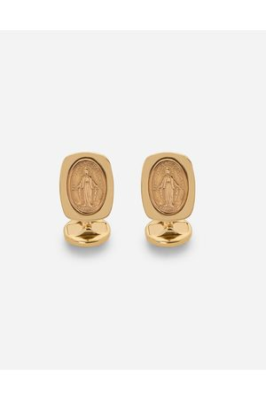 Dolce & Gabbana Men Watches - Jewelry - Devotion yellow gold cufflinks with a red gold Virgin Mary medallion male OneSize