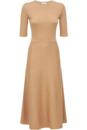 GABRIELA HEARST Flared Wool Blend Knit Midi Dress