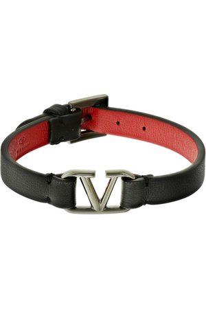VALENTINO GARAVANI V Logo Bi-color Leather Belt Bracelet