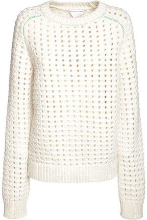 Bottega Veneta Wool Open Cable Knit Crewneck Sweater