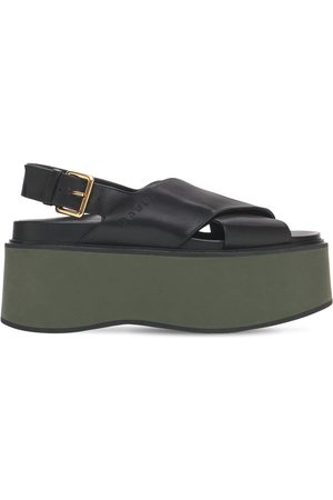 Marni Women Sandals - 60mm Fussbett Leather Wedge Sandals