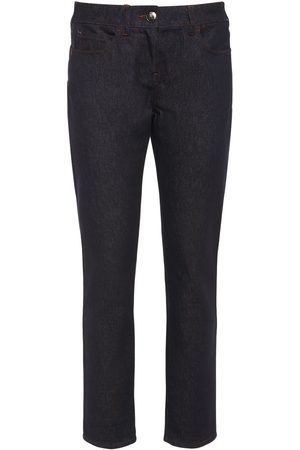 Max Mara Women Skinny Trousers - Cotton Denim Cropped Skinny Pants