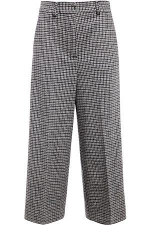 Max Mara Women Wide Leg Trousers - Wool Jersey Wide Leg Cropped Pants
