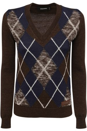 Dsquared2 Women Jumpers - Argyle Wool Knit Sweater