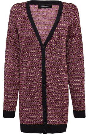 Dsquared2 Women Cardigans - Jacquard Wool Lamé Long Cardigan