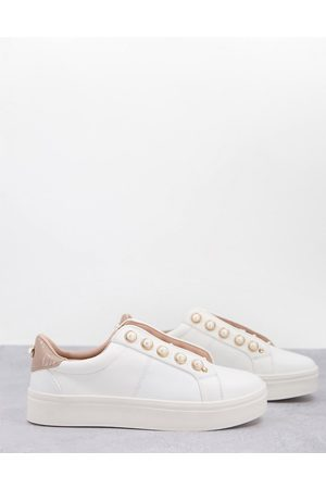 Miss KG Kassie pearl lace up trainers with pearl detail in blush-Neutral