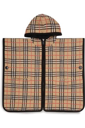 Burberry Kids Vintage Check Hooded Wool Poncho