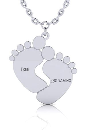 SuperJeweler Women Necklaces - Sterling Footprint Necklace w/ Free Custom Engraving, 18 Inches