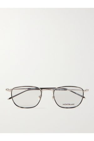Mont Blanc Square-Frame Silver-Tone and Acetate Optical Glasses
