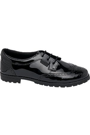 Hush Puppies Girls Brogues - Teen Girl Patent Leather Lace-up Brogues - Dual Fit
