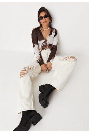 Missguided Women Boyfriend - Recycled Ecru Ripped Baggy Boyfriend Jeans, Ecru