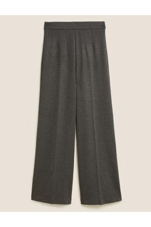 Marks & Spencer Womens Jersey Houndstooth Wide Leg Trousers - 6REG - Charcoal Mix, Charcoal Mix