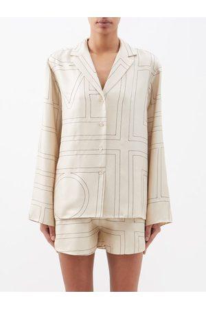Totême Women Tops - Monogram-embroidered Silk-twill Pyjama Top - Womens - Cream