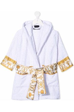 VERSACE Boys Bathrobes - Logo-print hooded bathrobe
