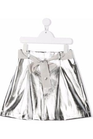 MONNALISA TEEN metallic-effect tie-fastening shorts