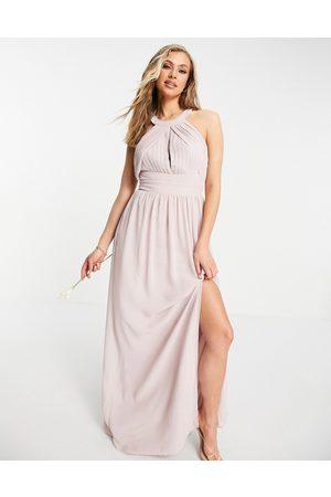 TFNC Bridesmaid pleated maxi dress in mink
