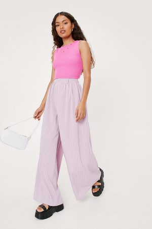 NASTY GAL Womens Petite Check Oversized Flowy Wide Leg trousers