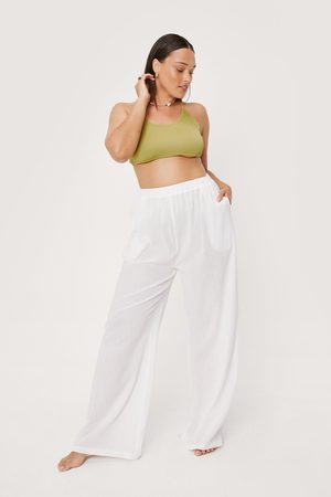 NASTY GAL Womens Plus Size Crinkle Wide Leg Cover Up trousers