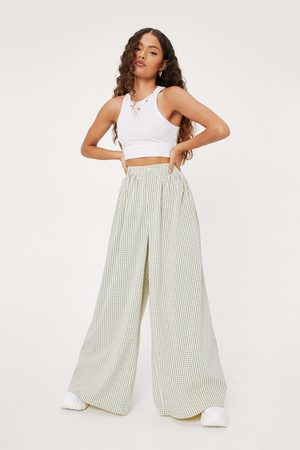 NASTY GAL Womens Petite Oversized Wide Leg Check trousers