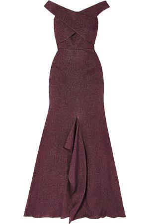 Roland Mouret Woman Ray Off-the-shoulder Metallic Piqué Gown Grape Size 10