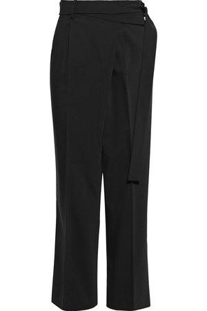 Helmut Lang Women Formal Trousers - Woman Belted Wool-blend Crepe Straight-leg Pants Size 10