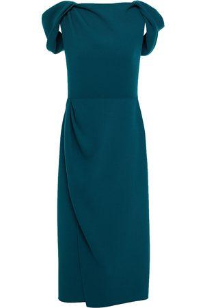 Oscar de la Renta Woman Wrap-effect Gathered Wool-blend Crepe Midi Dress Petrol Size 10