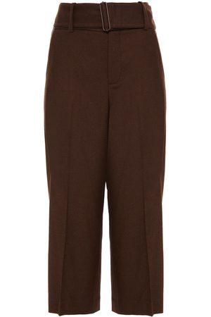 VINCE. Woman Belted Twill Culottes Chocolate Size 10