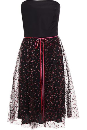 MONIQUE LHUILLIER Woman Strapless Bow-detailed Silk-faille And Glittered Tulle Dress Size 10