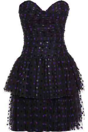 MONIQUE LHUILLIER Women Strapless Dresses - Woman Strapless Tiered Polka-docked Flocked Tulle Mini Dress Size 6